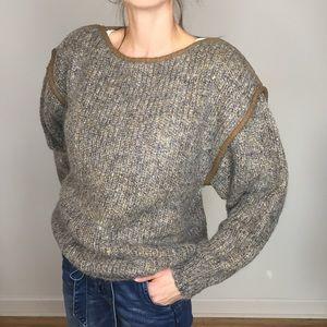 Vintage Gray Tan Wool Blend Chunky Sweater